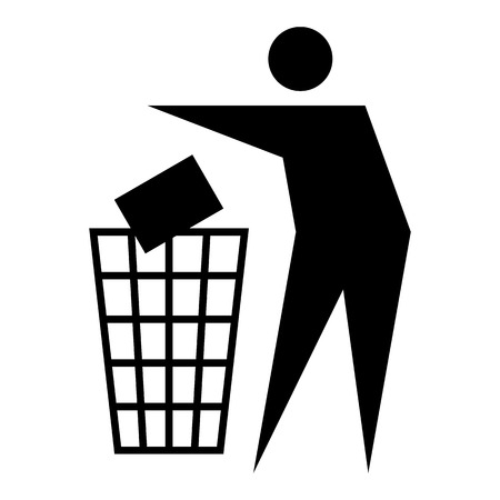 Figure of person throwing garbage into a trash can isolated on white background