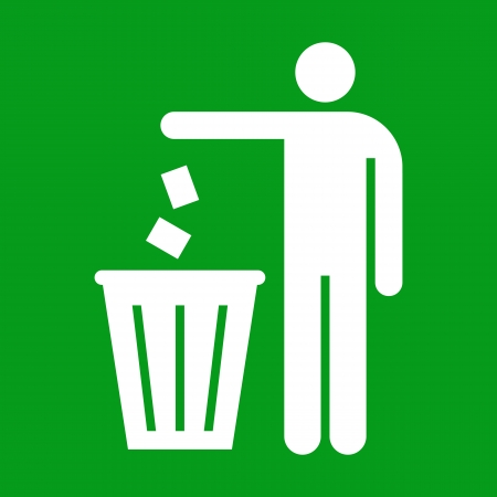 Figure of person throwing garbage into a trash can on green background Иллюстрация