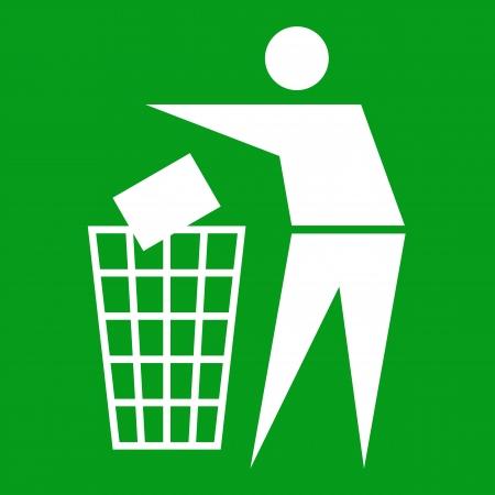 botar basura: Muestra de la litera en fondo verde