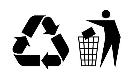 ゴミや白い背景の分離リサイクル サイン