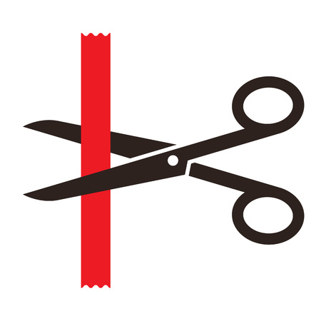 inauguration: Scissors cutting a red ribbon isolated on white background Illustration