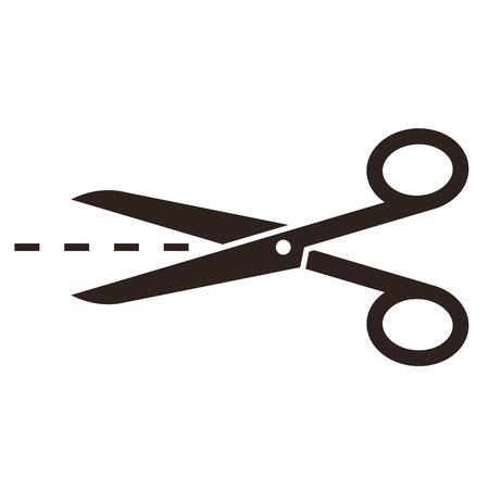 Ciseaux avec les lignes de coupe isolé sur fond blanc