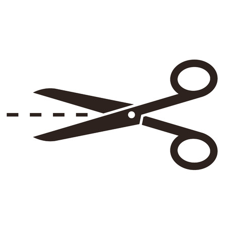 Scissors with cut lines isolated on white background