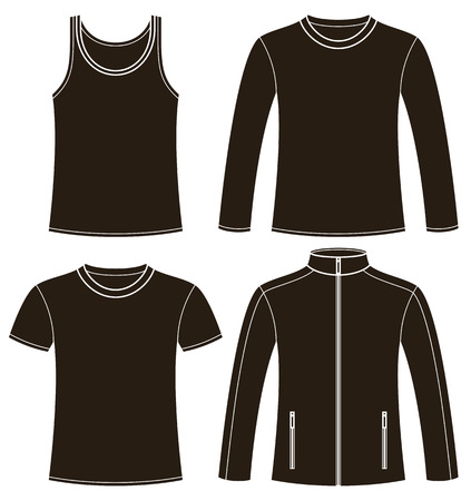Singlet, T-shirt, Long-sleeved T-shirt and Jacket template isolated on white background Vector