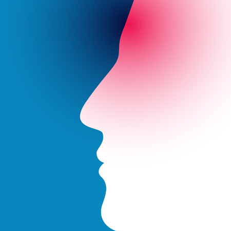 preoccupation: Illustration of headache on blue background
