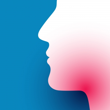 Illustration of sore throat on blue background