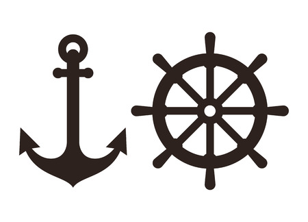 ship captain: Anchor and Rudder sign isolated on white background Illustration