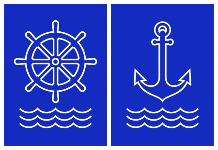 rudder: Anchor,ship steering and sea ​​wave on blue background
