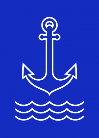 seaman: Anchor and sea waves on blue background