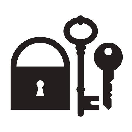 house keys: Padlock and keys isolated on white background Illustration