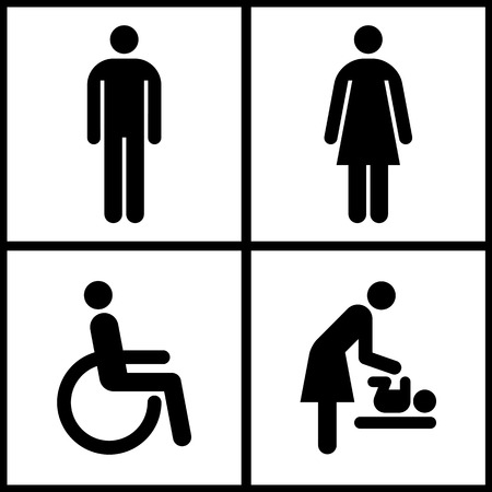Toilet Sign - Restroom, Mother room and Disabled sign  Vector