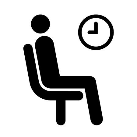 paciencia: Esperando símbolo de sala de aislados en fondo blanco
