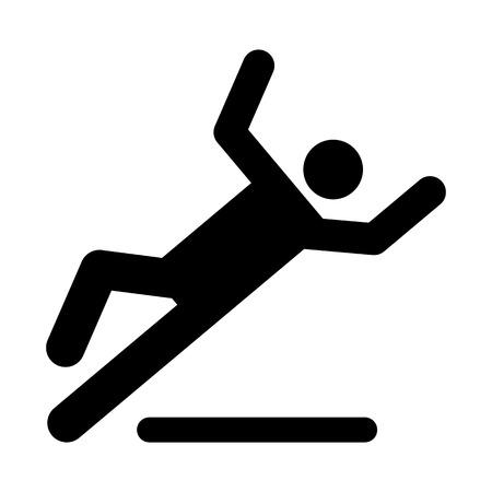 Wet floor caution sign  Danger of slipping isolated on white background Illustration