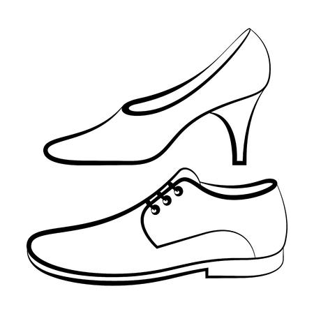 tienda zapatos: Las mujeres y los hombres de zapatos aislados en el fondo blanco Vectores