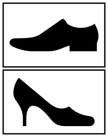 Women and men shoe isolated on white background