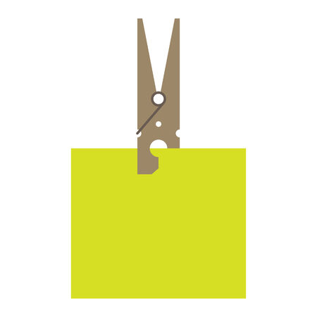 clothes peg: Clothes peg and reminder note isolated on white background Illustration