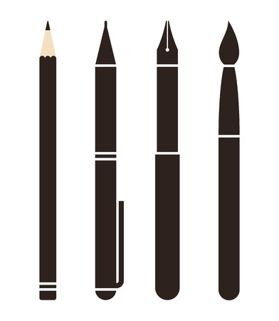 pencil writing: Set of pens and pencils isolated on white background