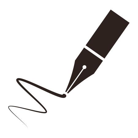 firmando: Icono de una pluma estilogr�fica y firma aislado en fondo blanco
