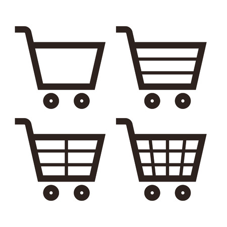 recoger: Compras Icon Set aislado en fondo blanco Vectores