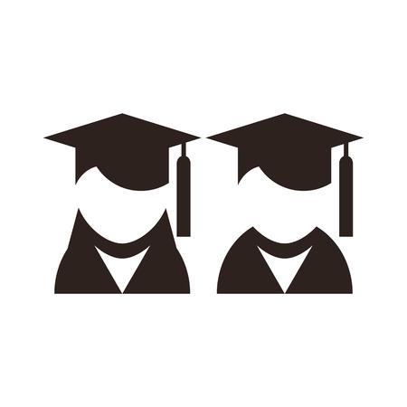 college professor: University avatar. Education icons isolated on white background Illustration