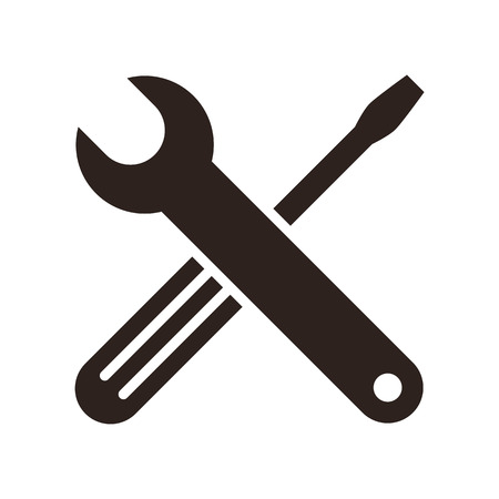 adjustable wrench: Wrench and screwdriver icon isolated on white background