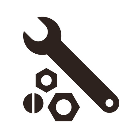 nuts and bolts: Wrench, nuts and bolt icon isolated on white background Illustration