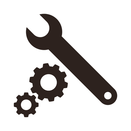 spanner: Wrench and gears icon isolated on white background