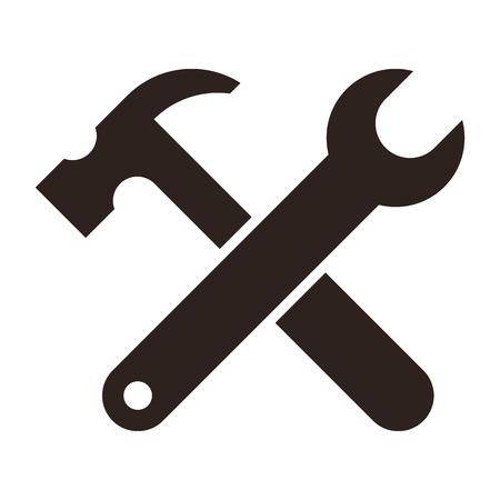 Clé et le marteau. Outils icône isolé sur fond blanc