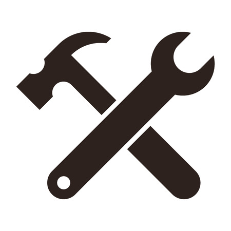 adjustable wrench: Wrench and hammer. Tools icon isolated on white background