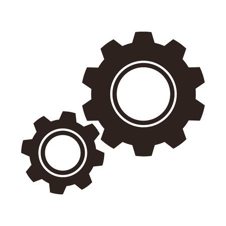 Gears radertjes icoon op een witte achtergrond Stock Illustratie