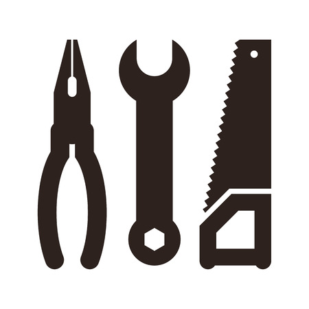 utility: Pliers, wrench and saw icon isolated on white background Illustration
