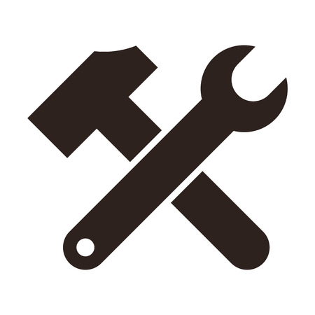 adjustable: Wrench and hammer. Tools icon isolated on white background
