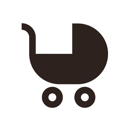 Baby carriage symbol isolated on white background Vector