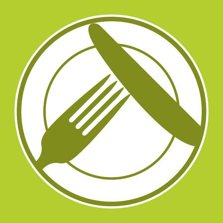 Placa, cuchillo y tenedor. Diseño del menú del restaurante con símbolos cubiertos Ilustración de vector