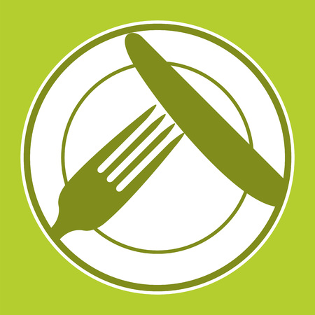 vegetarianism: Plate, knife and fork. Restaurant menu design with cutlery symbols