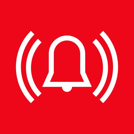 emergency response: Alarm icon on red background