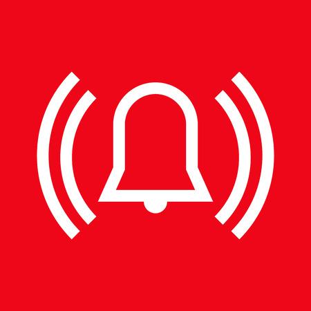 Icono de alarma sobre fondo rojo
