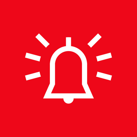 intruder: Alarm icon on red background