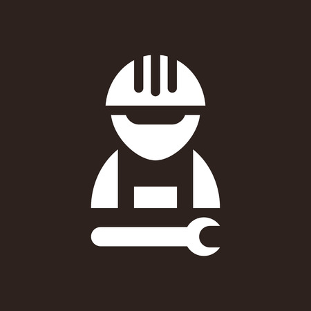 construction worker cartoon: Construction worker icon on dark background