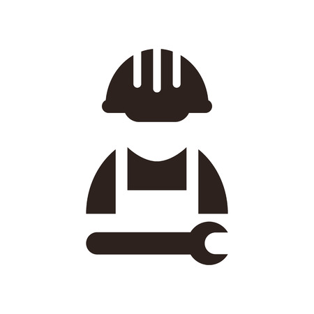 Construction worker icon isolated on white background Vector