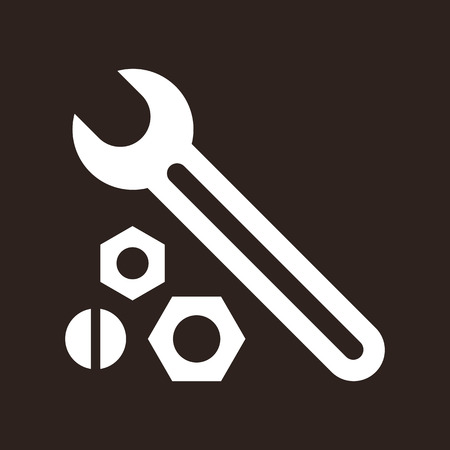 nut bolt: Wrench, nuts and bolt icon on dark background Illustration