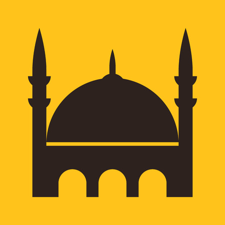 minarets: Mosque icon on yellow background Illustration