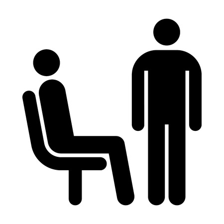 seating: Seating and standing man. Waiting room symbol isolated on white background Illustration