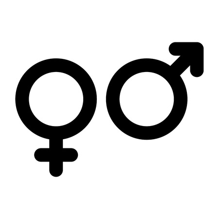 female sex: Male and female sign. Gender symbol isolated on white background Illustration