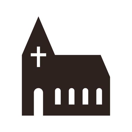 Pictogram kerk op een witte achtergrond Stock Illustratie