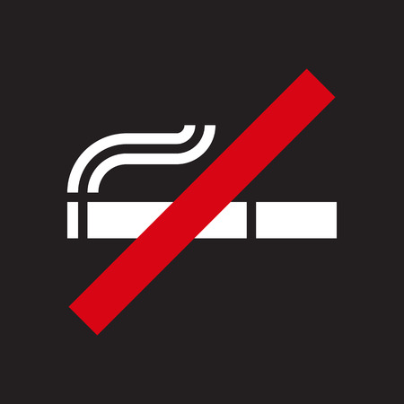 smoldering cigarette: No smoking sign on black background