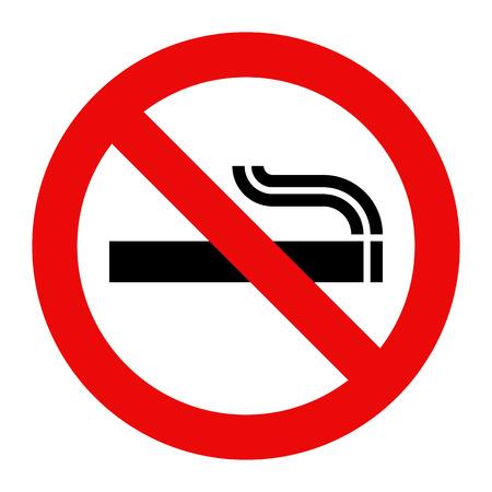 Niet roken teken. Verboden symbool op een witte achtergrond