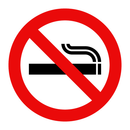 black smoke: No smoking sign. Prohibited symbol isolated on white background