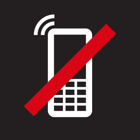ringtone: Mobile Phone prohibited. No cell phone sign on black background Illustration