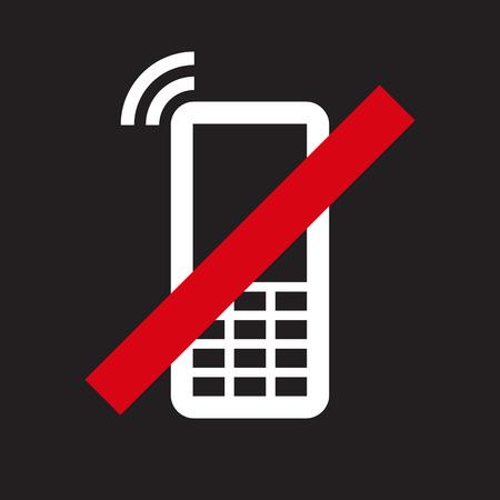 no cell: Tel�fono M�vil prohibida. Ninguna se�al de tel�fono celular en el fondo negro Vectores